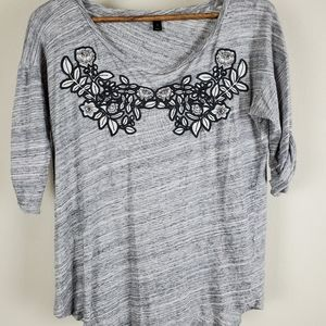 J. Crew Gray Floral Embroidered Blouse